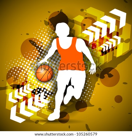 Illustration of a basketball player practicing with basket ball on colorful shiny abstract grungy background. EPS 10. - stock vector