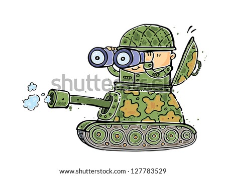 illustration of a Battle tank flying with soldier pointing forward - stock vector