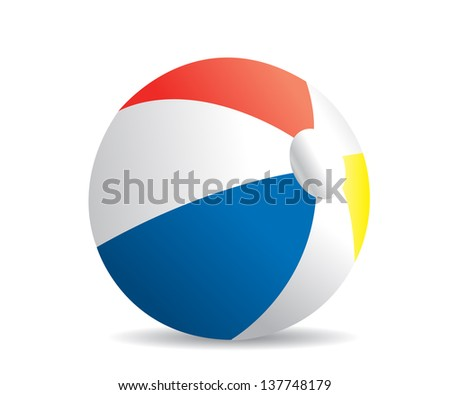 Illustration of a beach ball on a white background - stock vector