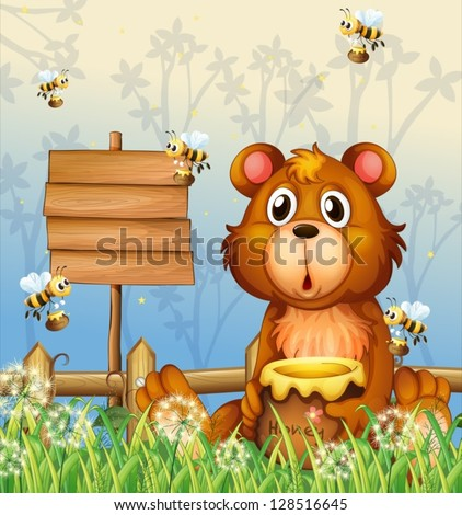Illustration of a bear and bees near a signage - stock vector