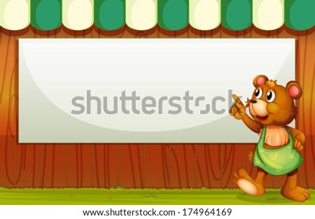Illustration of a bear beside the empty template - stock vector