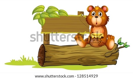 Illustration of a bear sitting on a trunk on a white background - stock vector