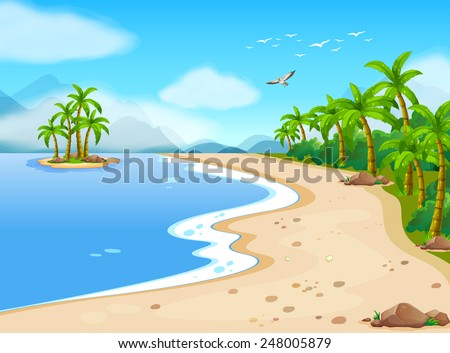 Illustration of a beautiful beach during the summer - stock vector