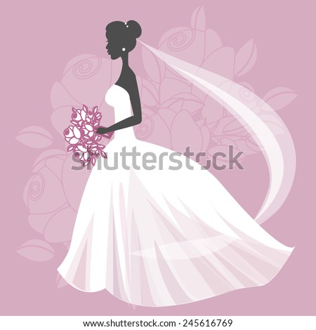 Illustration of a beautiful bride holding a bouquet. EPS 10 - stock vector