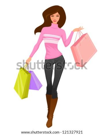 illustration of a beautiful cartoon girl shopping - stock vector