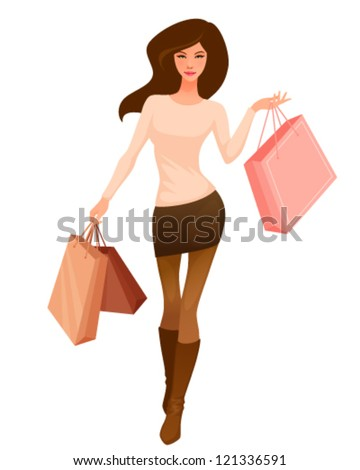 illustration of a beautiful cartoon girl with shopping bags in earth colors - stock vector