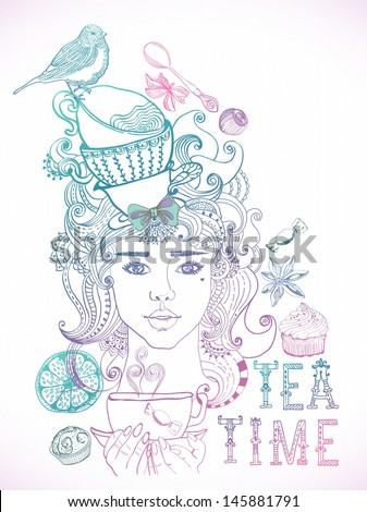 Illustration of a beautiful girl and tea cups and beautiful hair with floral elements, VECTOR