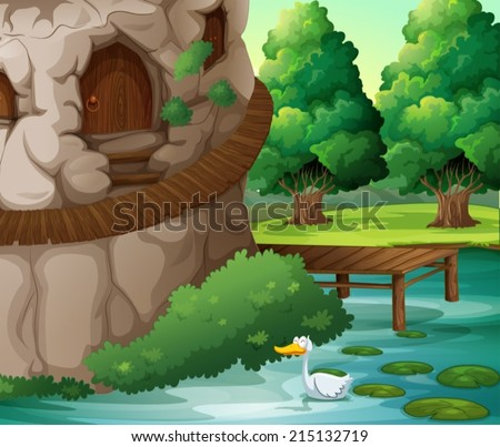Illustration of a beautiful scenery with a duck - stock vector