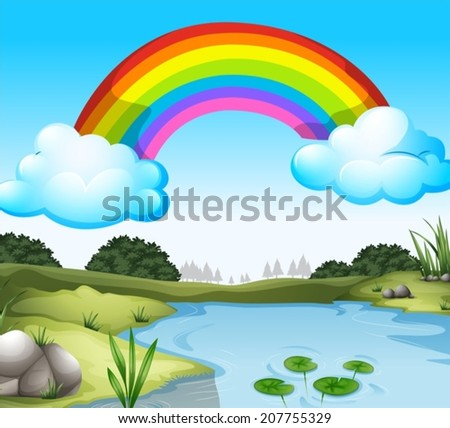 Illustration of a beautiful scenery with a rainbow in the sky - stock vector