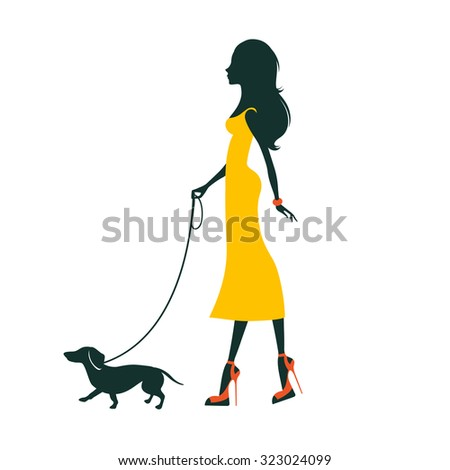 Illustration of a Beautiful woman silhouette  with dachshund - stock vector