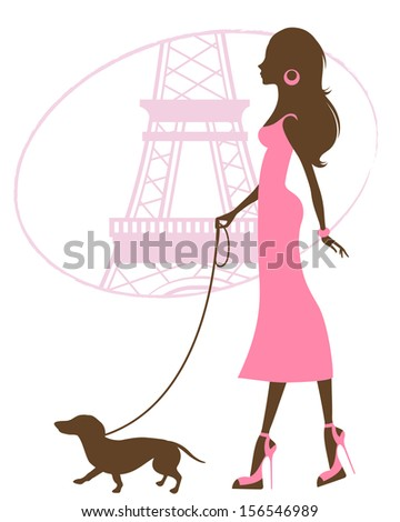 Illustration of a Beautiful woman with dachshund in Paris - stock vector