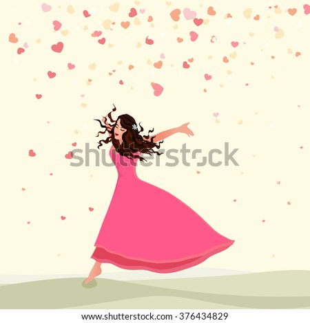 Illustration of a beautiful young girl on hearts decorated background for Happy Women's Day celebration. - stock vector
