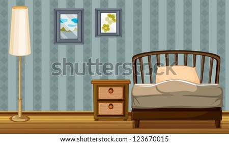 Illustration of a bed and a lamp in a room - stock vector