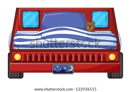 Illustration of a bed of a child on a white background