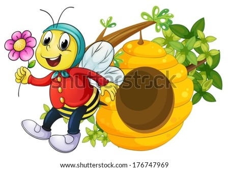 Illustration of a bee holding a flower on a white background - stock vector