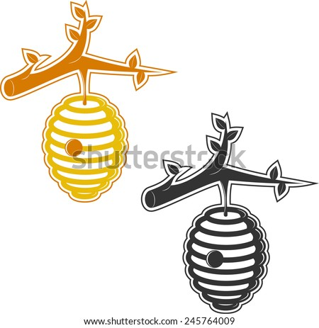 Illustration of a beehive attached to a branch.  - stock vector