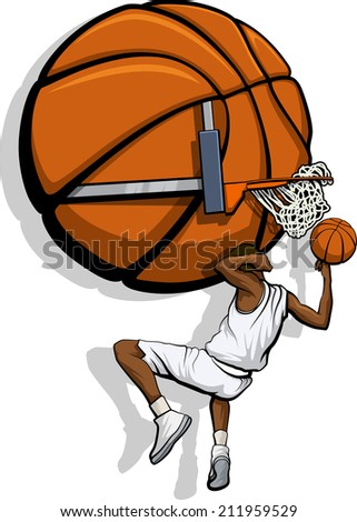 Illustration of a behind the head dunk. All colors are global for easy editing. - stock vector