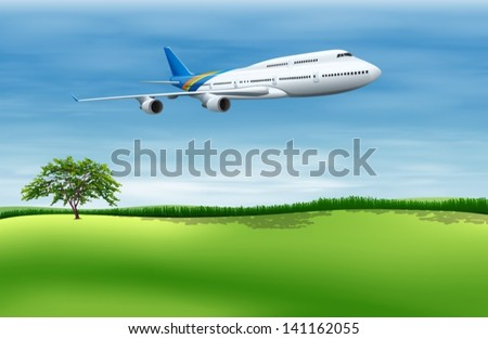 Illustration of a big commercial plane