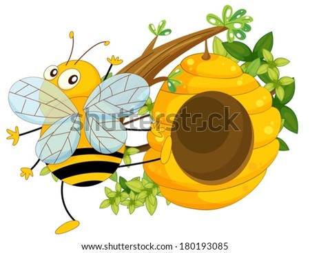 Illustration of a big fat bee near the beehive on a white background - stock vector