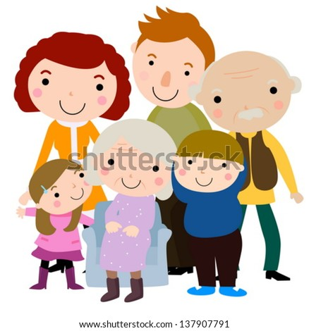 Illustration of a big happy family - stock vector