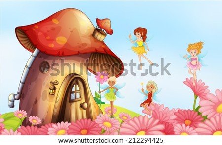 Illustration of a big mushroom house with fairies