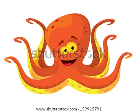 illustration of a big octopus - stock vector