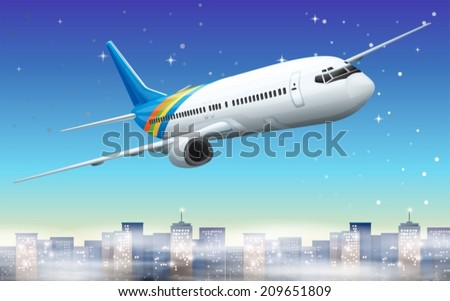 Illustration of a big plane in the sky - stock vector