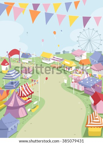 Illustration of a Big Theme Park Surrounded by Festival Booths - stock vector