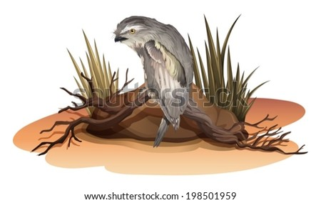 Illustration of a bird above the branch of a tree near the rock on a white background