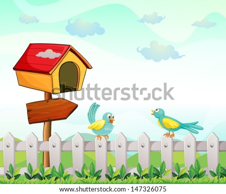Illustration of a bird house with an arrow board and birds above the fence  - stock vector
