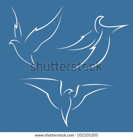 Illustration of a bird in flight - vector - stock vector