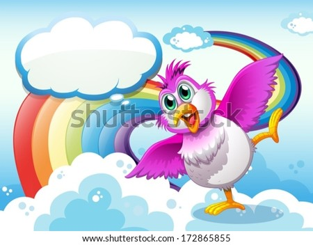 Illustration of a bird in the sky near the rainbow with an empty callout - stock vector