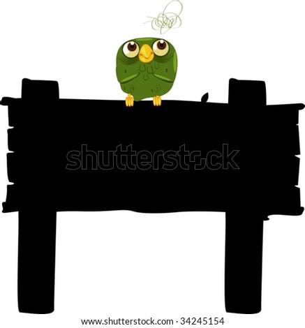 Illustration of  a bird sitting on board - stock vector