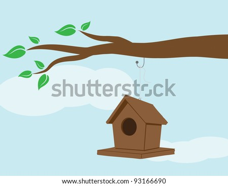 Illustration of a birdhouse hanging on a branch. - stock vector