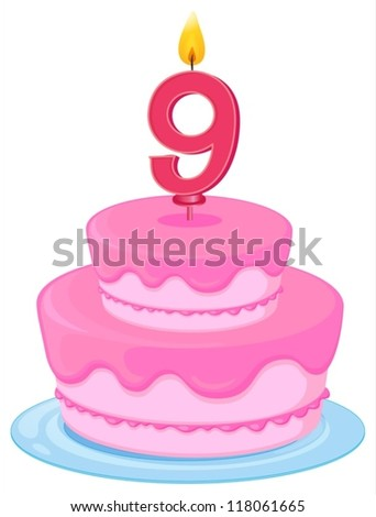 illustration of a birthday cake on a white background - stock vector
