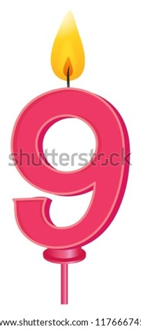 Illustration of a birthday candle number - stock vector
