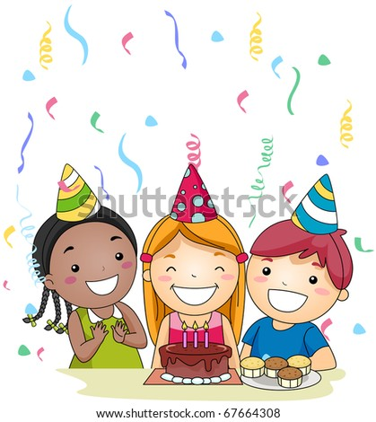 Illustration of a Birthday Celebrant About to Blow Her Candles - stock vector