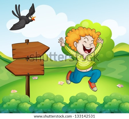 Illustration of a black bird and a happy boy near the arrow signage - stock vector