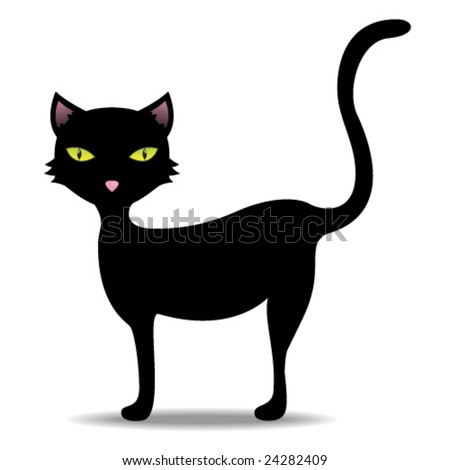 Illustration of a black cat - stock vector