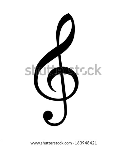 Illustration of a black clef isolated on white background VECTOR - stock vector