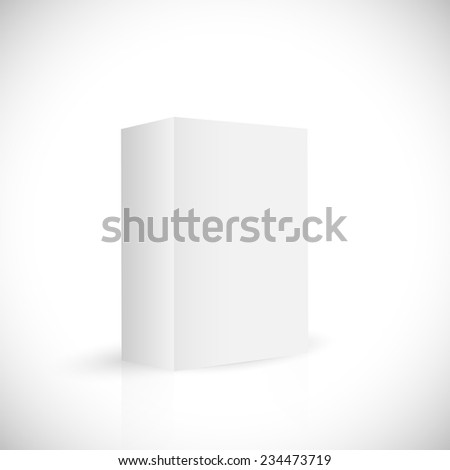 Illustration of a blank white box isolated on a white background. - stock vector