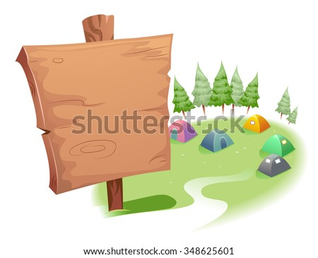 Illustration of a Blank Wooden Sign on Top of a Camp Site - stock vector