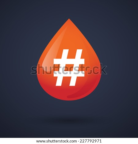 Illustration of a blood drop icon with a hash tag - stock vector