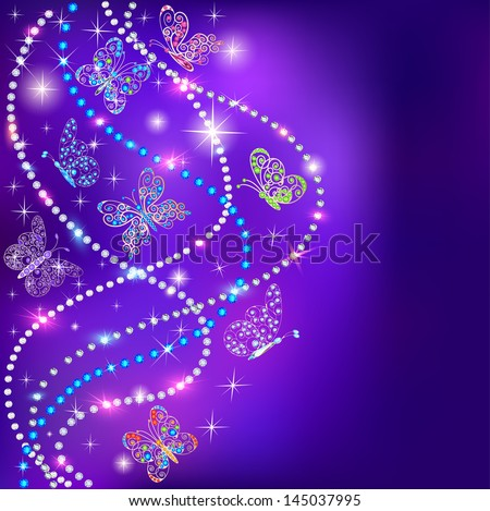illustration of a blue background butterflies and stars with precious stones - stock vector