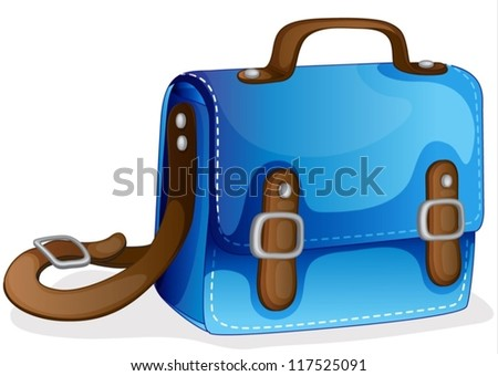 illustration of a blue bag on a white background - stock vector