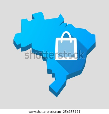 Illustration of a blue Brazil map with a shopping bag - stock vector