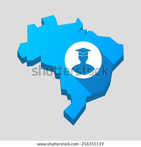 Illustration of a blue Brazil map with a student avatar - stock vector