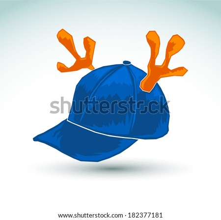Illustration of a blue cap with reindeer horns - vector icon  - stock vector