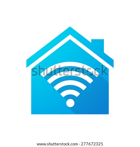 Illustration of a blue house icon with a radio signal - stock vector