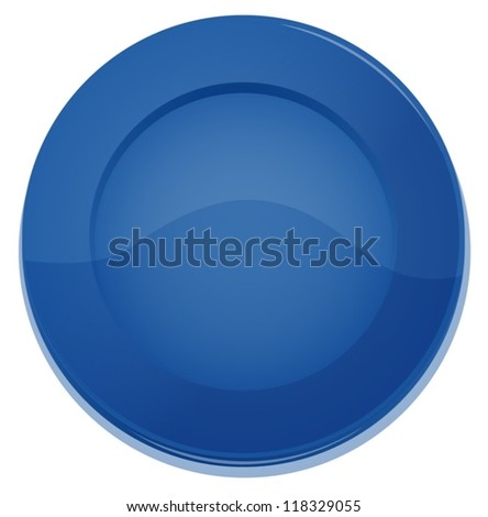 illustration of a blue plate on a white background - stock vector